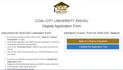 Coal City University (CCU) Post UTME/ Admission Screening For 2020/2021 Academic Session