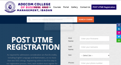 Adecom College of Business And Management Admission Form, 2020/2021 Session