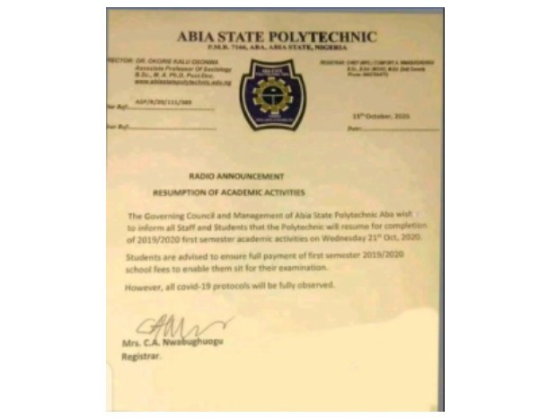 Abia State Poly Announces Resumption Date for Completion of 2019/2020 Session