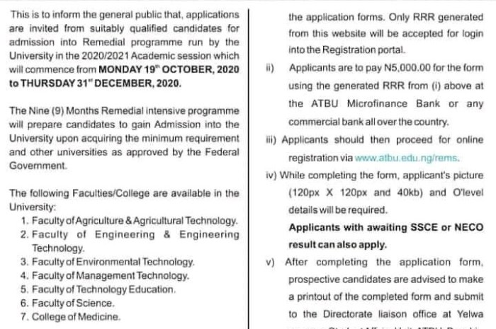 Abubakar Tafawa Balewa University (ATBU) IJMB & Remedial Admission Forms for 2020/2021 Academic Session