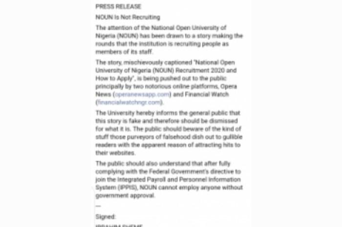 National Open University Of Nigeria (NOUN) Debunks News On Recruitment