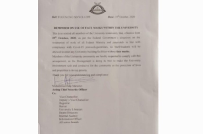 FUGUS Notice On The Use of Face Mask Within The University