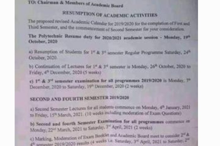 Federal Polytechnic Damaturu Revised Academic Calendar for 2019/2020 Session