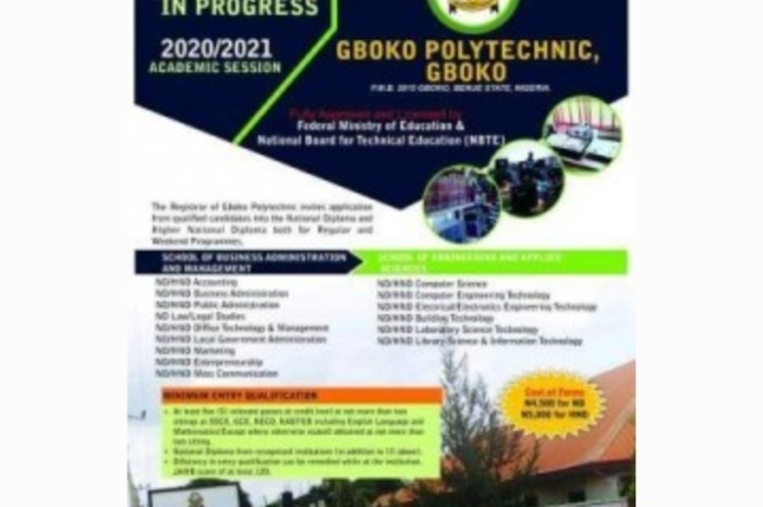 Gboko Polytechnic Admission Forms (ND/HND) for 2020/2021 Academic Session