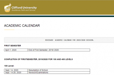 Clifford University Revised Academic Calendar For 2019/2020 Session