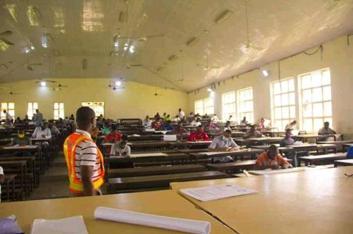 Akwa Ibom State University Students Observe Social Distancing In Exam Hall