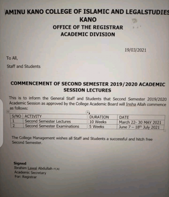 Aminu Kano College of Islamic and Legal Studies 2nd semester resumption 2019/2020