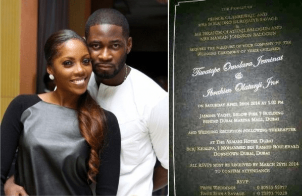 See snapshot of tiwa savage teebillz dubai wedding invitation card tiwa savage and tunji tee billz baloguns white wedding is set for april 26 2014 in dubaia leaked snapshot of their invitation card shows that they are stopboris Images
