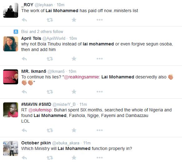 Lai Mohammed Ministerial List2