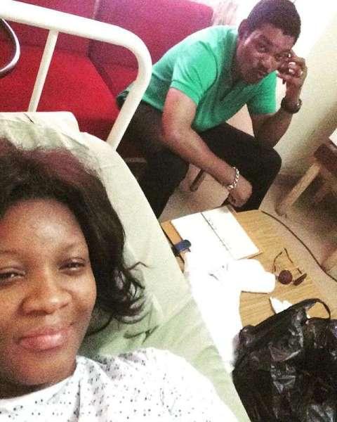 Omotola Jalade-Ekeinde and husband at the hospital (Instagram)