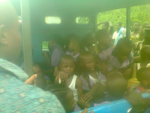 School bus conveying primary school pupils