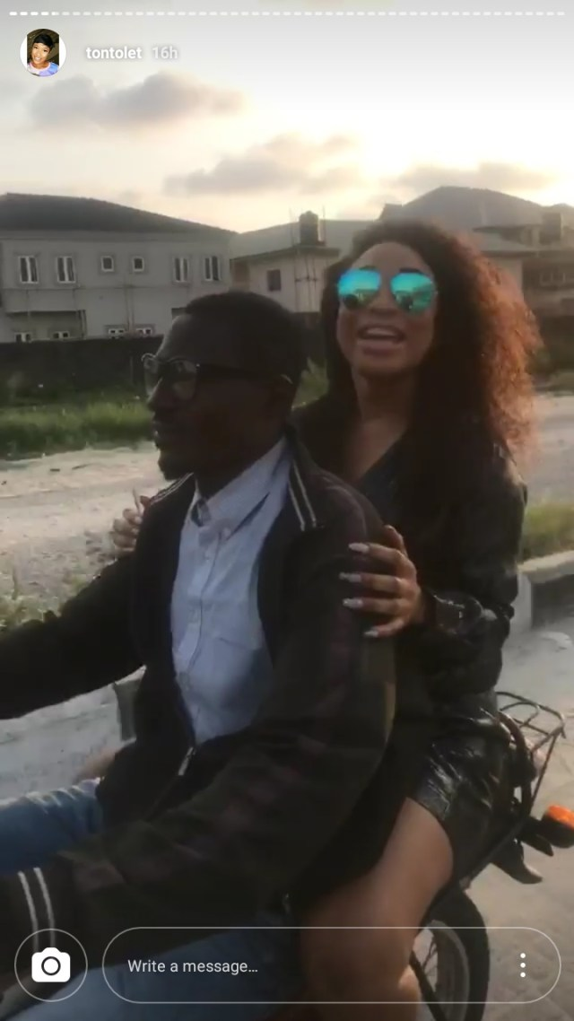 Tonto Dikeh Rides Okada