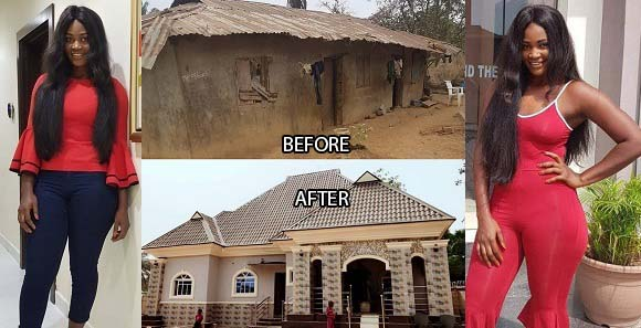 Image result for Nollywood actress, Chizzy Alichi builds bungalow for her parents (photo)