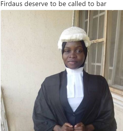 Firdaus - Nigerians Debate Over Nigerian Law School's Refusal To Call Muslim Lady To Bar Because She Had Her Hijab Tucked Into Her Collarette.