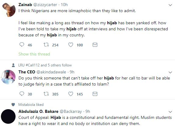 Firdaus6 - Nigerians Debate Over Nigerian Law School's Refusal To Call Muslim Lady To Bar Because She Had Her Hijab Tucked Into Her Collarette.