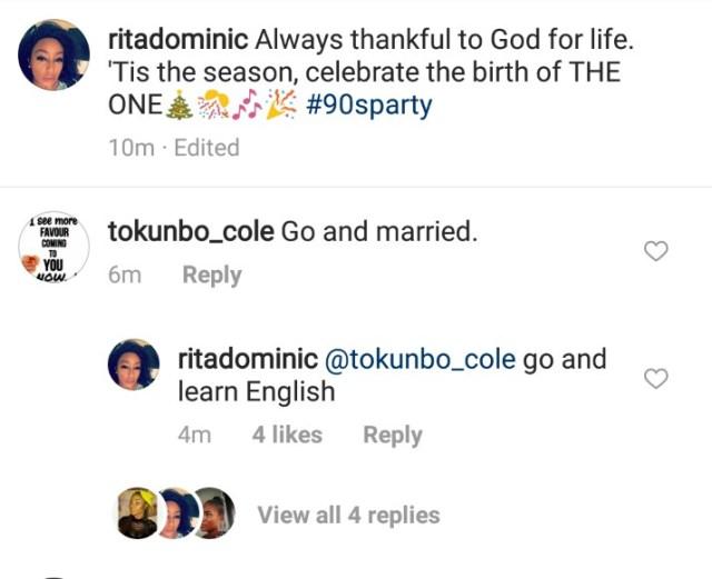 Rita Dominic replies fan