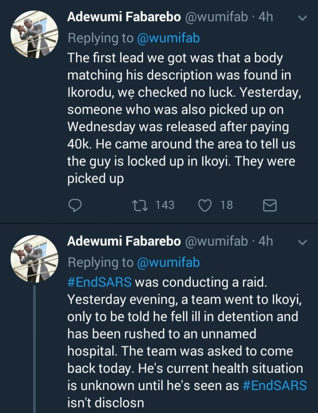 SARS arrest young father2 - Young Father Has Been In Detention For 5 Days after SARS Picked Him Up When He Went Out At Night To Buy Water.