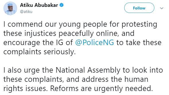 atiku 3 - Former Vice President, Atiku Abubakar reacts to #EndSARS campaign on Social Media