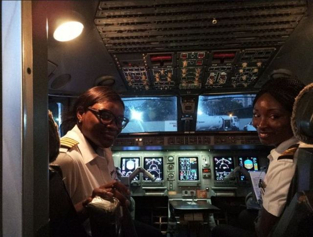 female - Two Female Pilots All Smiles After a successful trip Flying From Abuja To Lagos. Photos
