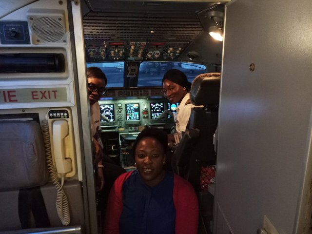 female0 - Two Female Pilots All Smiles After a successful trip Flying From Abuja To Lagos. Photos