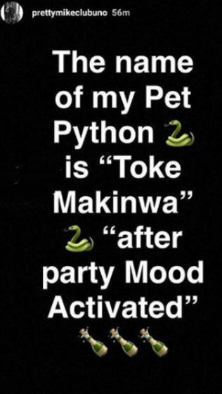 "mike - Pretty Mike Bathes With His Python, Names it ""Toke Makinwa"" (Photos)"