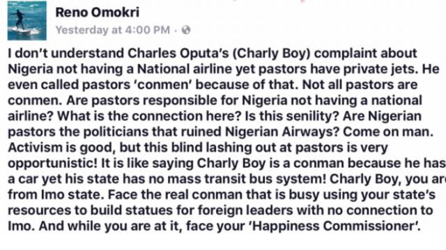 Reno Omokri Blasts Charly Boy