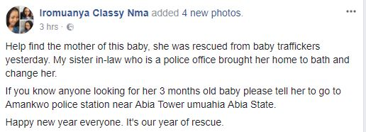 3 months old baby rescued on new years eve