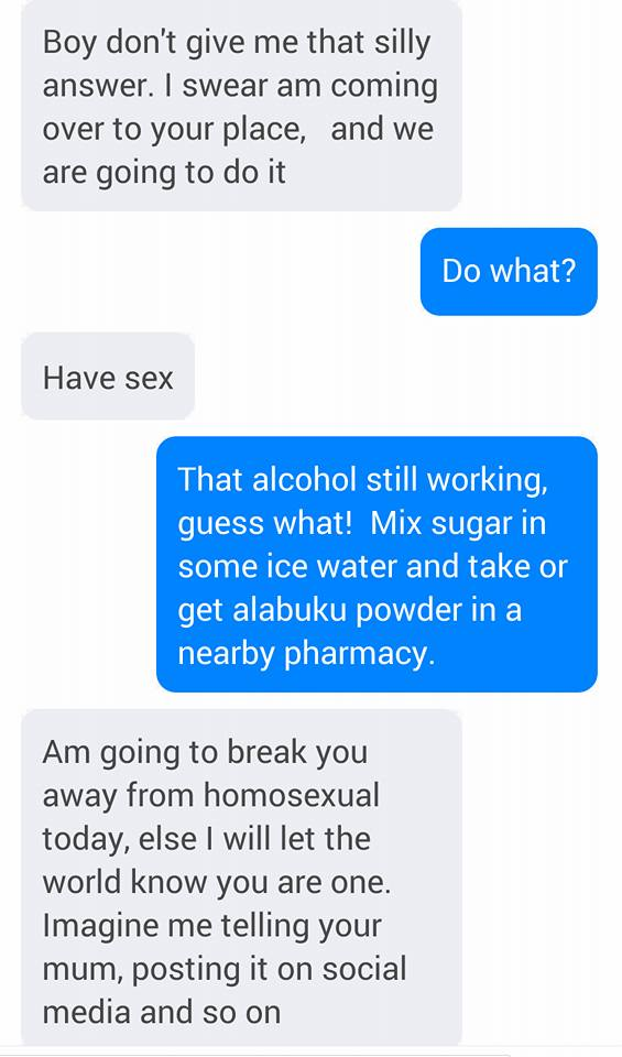 Nigerian guy shares screenshots of chats he had with a lady disturbing him for s*x