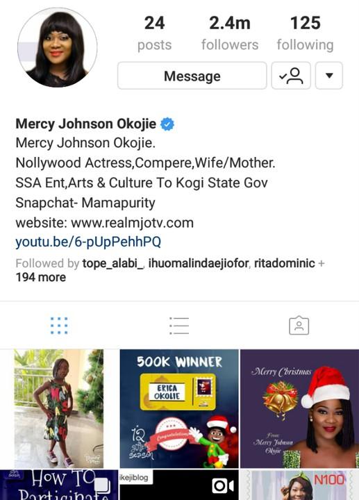 mercy johnson deletes
