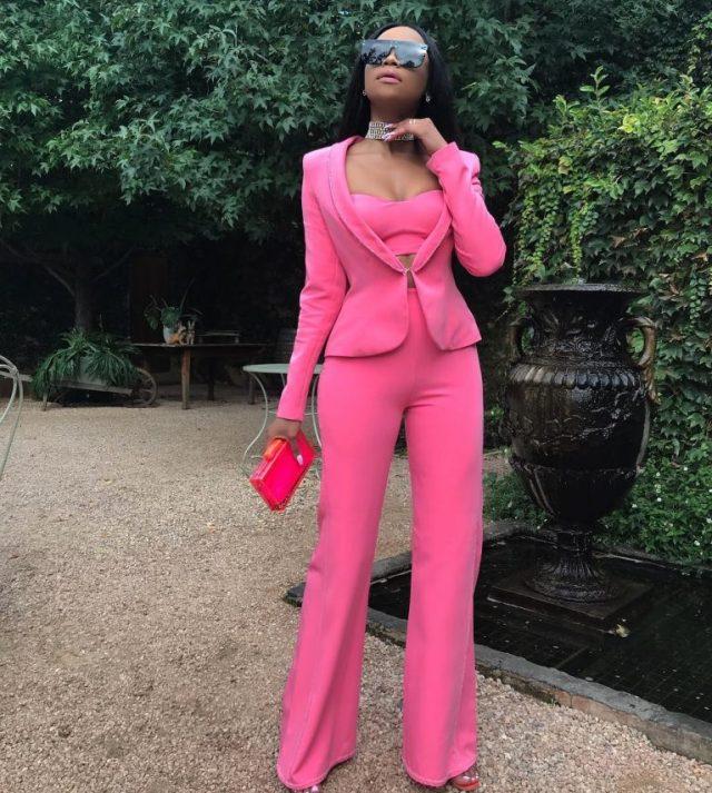 Bonang Matheba rocks pink pant