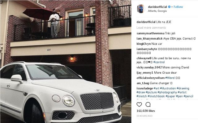 davidooo - Davido flaunts N130m Bentley while smoking in Atlanta, says Life na JeJe