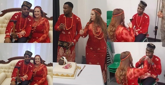 Igbo Man weds his beautiful white bride in style (See Photos)