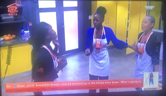 #BBNaija Drama: Khloe and Nina team up & nearly come to blows with CeeC (Video)