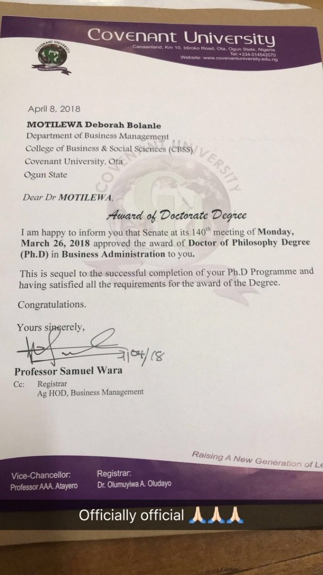 phd3 - 25 year old Nigerian Lady bags a PhD at Covenant University