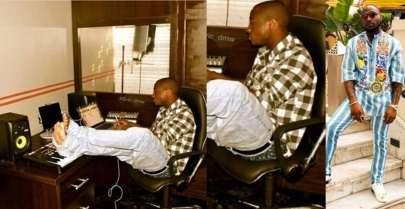 Epic throwback photo of Davido in his recording studio in 2012
