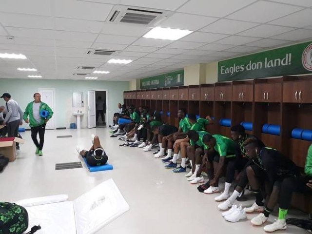 Photos Of Super Eagles Locker Room Customized In Pidgin- English