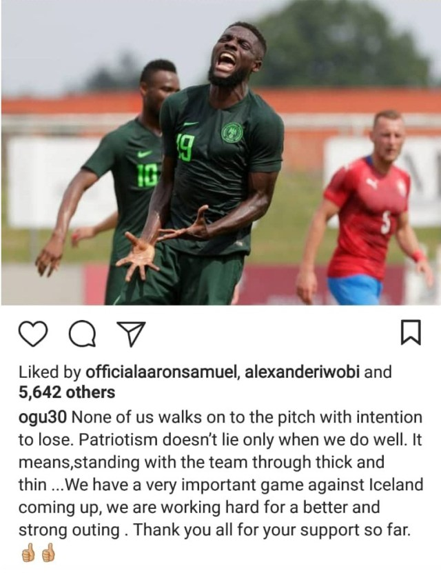Super Eagles Player, John Ogu angrily replies Nigerian who says he should go off and focus on winning next match