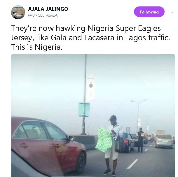 Super Eagles 41k Naira 'Original' Jersey is now being sold in Lagos traffic (Photo)