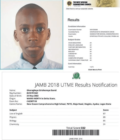 15-year-old boy passes WAEC with straight As and scores 332 in JAMB