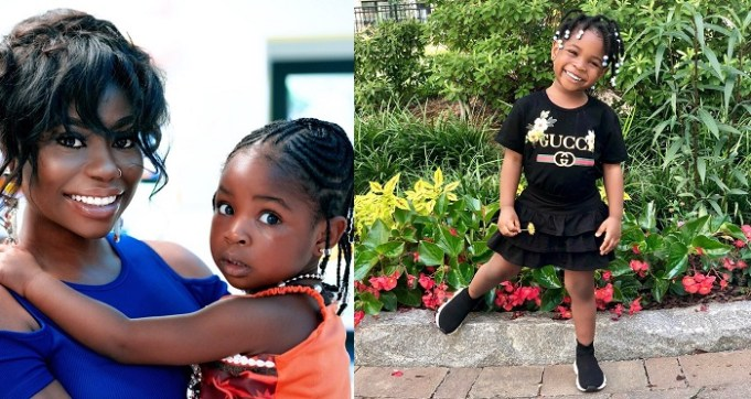 Adorable photos of Davido's daughter, Imade Adeleke rocking Gucci shirt and Balenciaga Sneakers