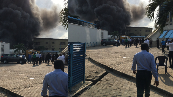 Diesel Tanker explosion causes fire outbreak around EcoBank Head Office in Lagos