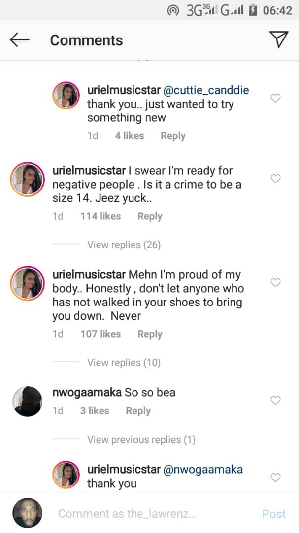 Uriel defends herself after trolls urged her to dress decent like Bisola