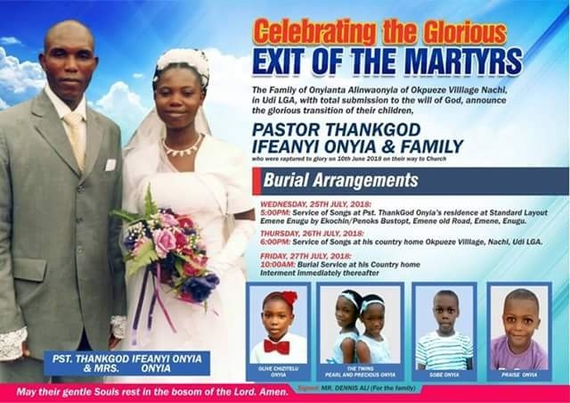Redeemed Church pastor, his wife and five children killed in fatal accident, laid to rest amidst tears