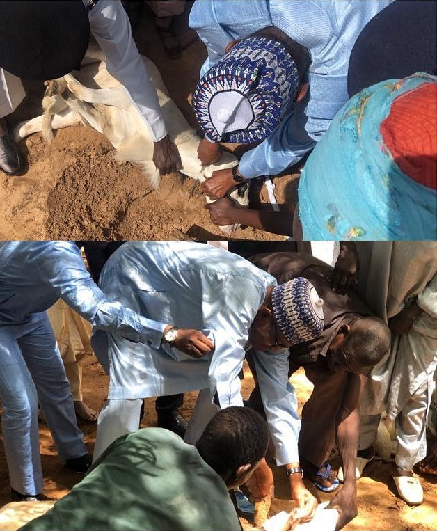 President Muhammadu Buhari pictured slaughtering