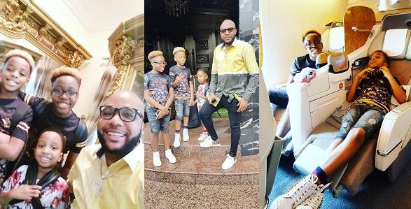 Billionaire businessman, E-money's sons rock blonde hairstyle (Photos)