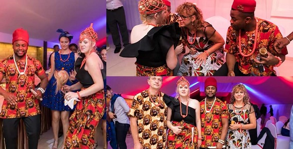 Image result for Nigerian man marries white bride who rocked Igbo attire to their wedding (Photos)