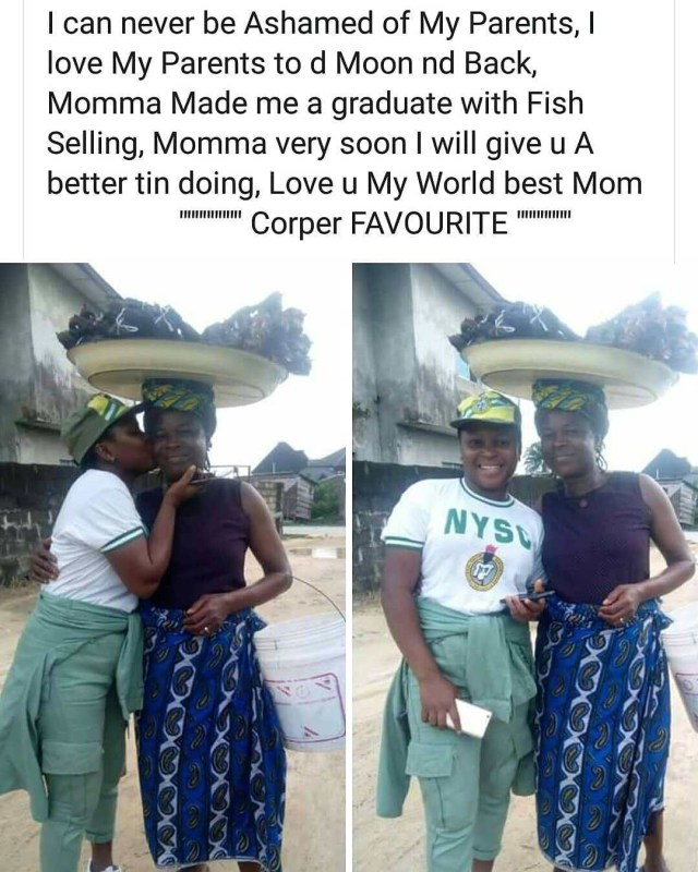 Female Corper Shows Off Her Mother Who Sold Fish To Sponsor Her Education