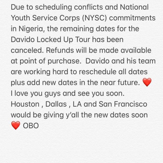 Davido cancel