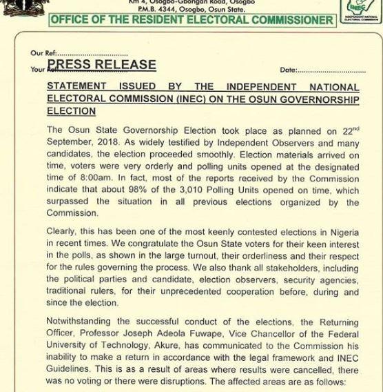 Osun governorship election re-run
