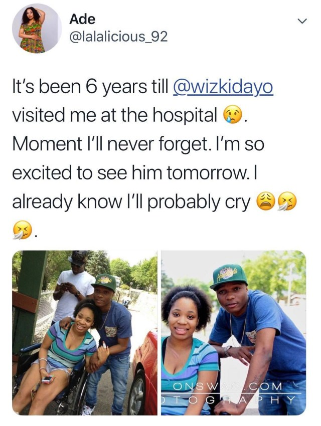 43629495 957216037797618 6676067108721262592 n - Lady shares photos of when Wizkid visited her at the hospital, 6 years ago
